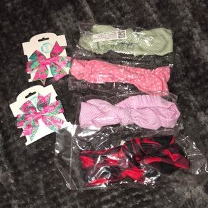 Baby Girl Headband and Clip Bow Set